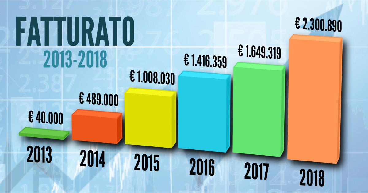 Fatturato della cooperativa Sole nel periodo 2013-2018